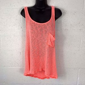 Splendid Sz L Knitted Tank Top Neon Orange